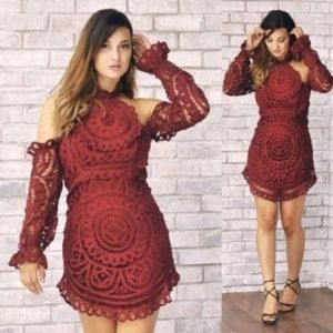 Boutique Bohemian Red Crochet Lace Mini Dress